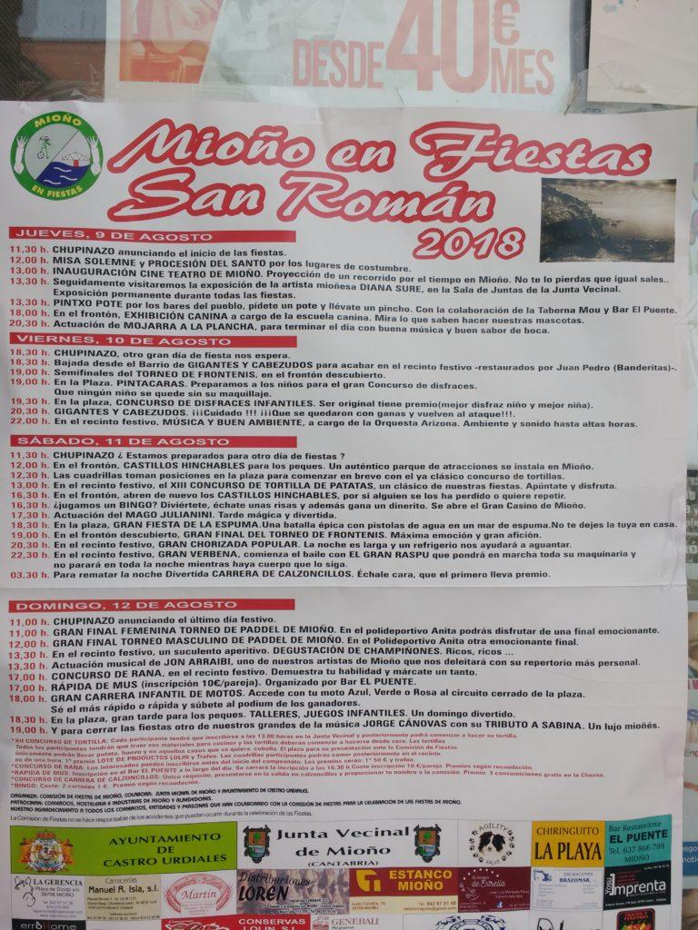 Programa de Fiestas de San Román en Mioño para agosto de 2018
