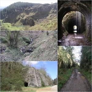Pasos por húmedos túneles, las vistas de las antiguas minas y el arroyo de Callejamala que acompaña buena parte del trayecto